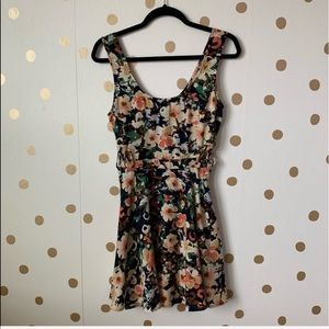 UO Lucca Contour Floral Fit And Flare Dress